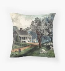 American homestead spring - Currier & Ives - 1869 Throw Pillow
