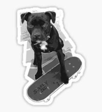 SK8 Staffy Dog black and white Sticker