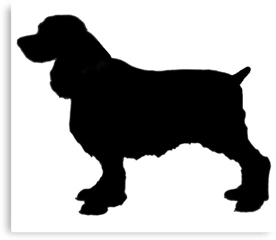 english springer spaniel dog silhouette freehand drawing by joyce geleynse