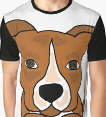 Cool Funny Brown and White Pitbull Puppy Dog Graphic T-Shirt