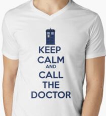 Keep Calm And call the doctor Men's V-Neck T-Shirt