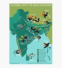The Hornbill Map of the Indian Subcontinent Photographic Print