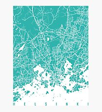 Helsinki map turquoise Photographic Print