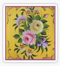 Yellow Pink Victorian Rose Folk Art Garden Floral Design Material Fabric Cotton Duvet by Kirsten Sticker