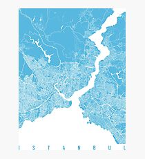 Istanbul map blue Photographic Print