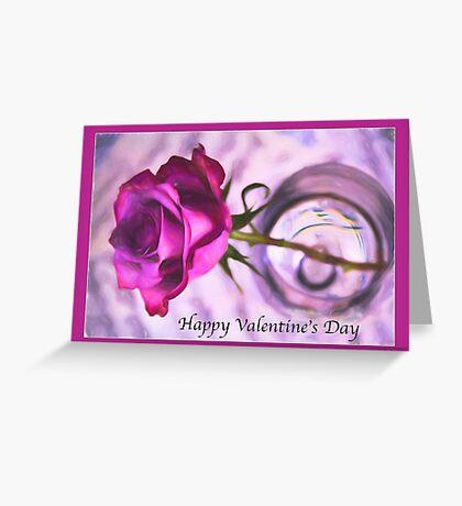 Happy Valentine's Day Purple Rose Greeting Card
