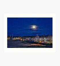 Moon over the Santa Cruz Boardwalk amusement park Art Print