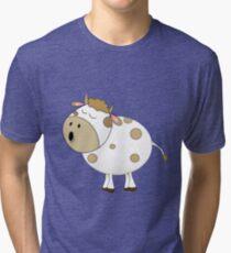 Cute Moo Cow Cartoon Animal Tri-blend T-Shirt