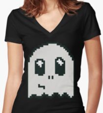 8-bit ghost Women's Fitted V-Neck T-Shirt