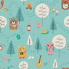 Little friends enjoy some camping fun by studiocarrie