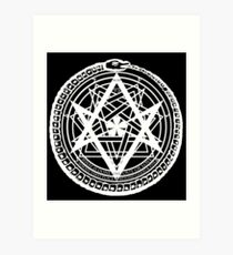 Thelemic Babalon Ouroboros with Nietzsche quote and Enochian script Art Print