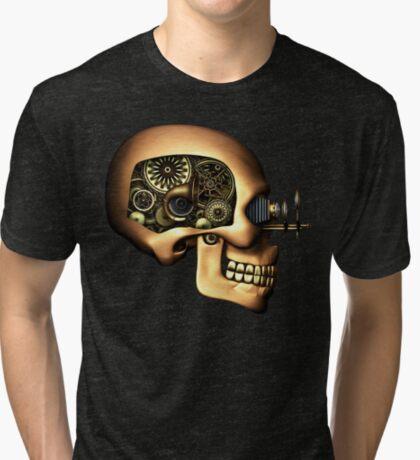 Vintage Steampunk Automaton Skull #1B Tri-blend T-Shirt