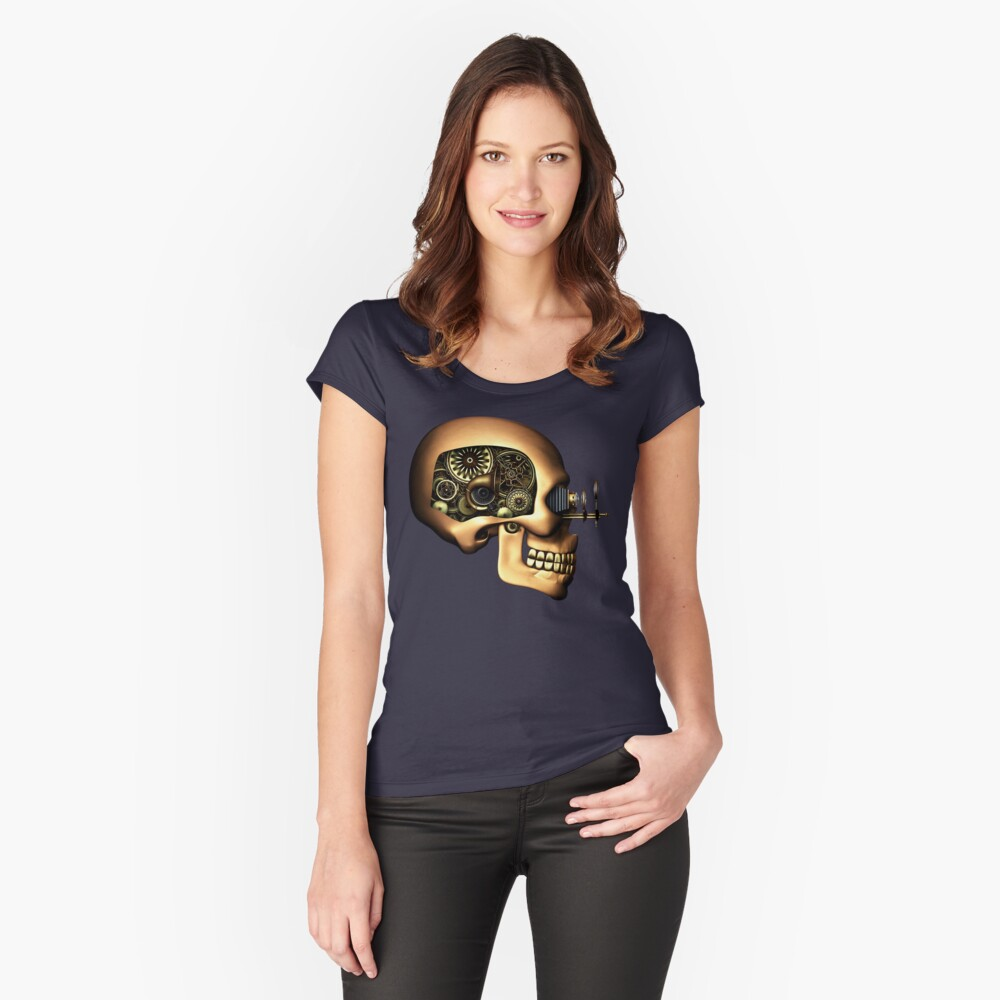 Vintage Steampunk Automaton Skull #1B Fitted Scoop T-Shirt