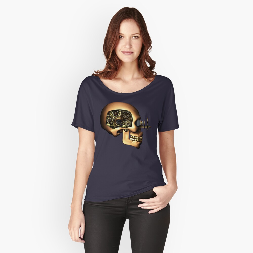 Vintage Steampunk Automaton Skull #1B Relaxed Fit T-Shirt