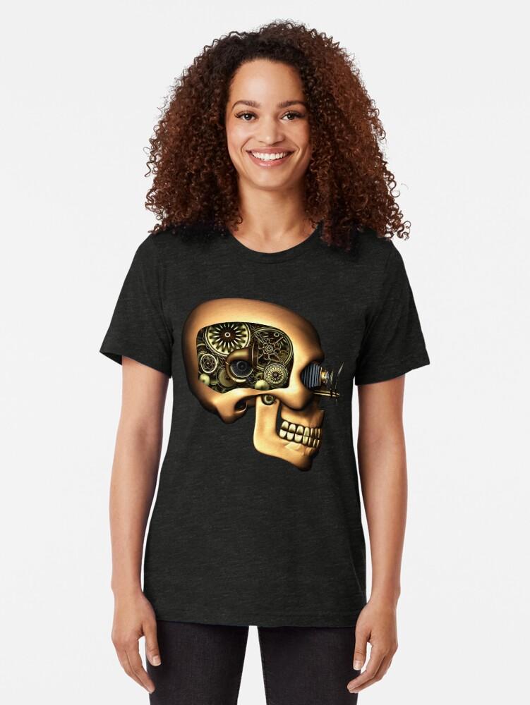 Alternate view of Vintage Steampunk Automaton Skull #1B Tri-blend T-Shirt