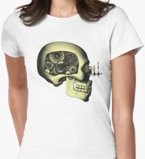 Vintage Steampunk Automaton Skull #1 Women's Fitted T-Shirt