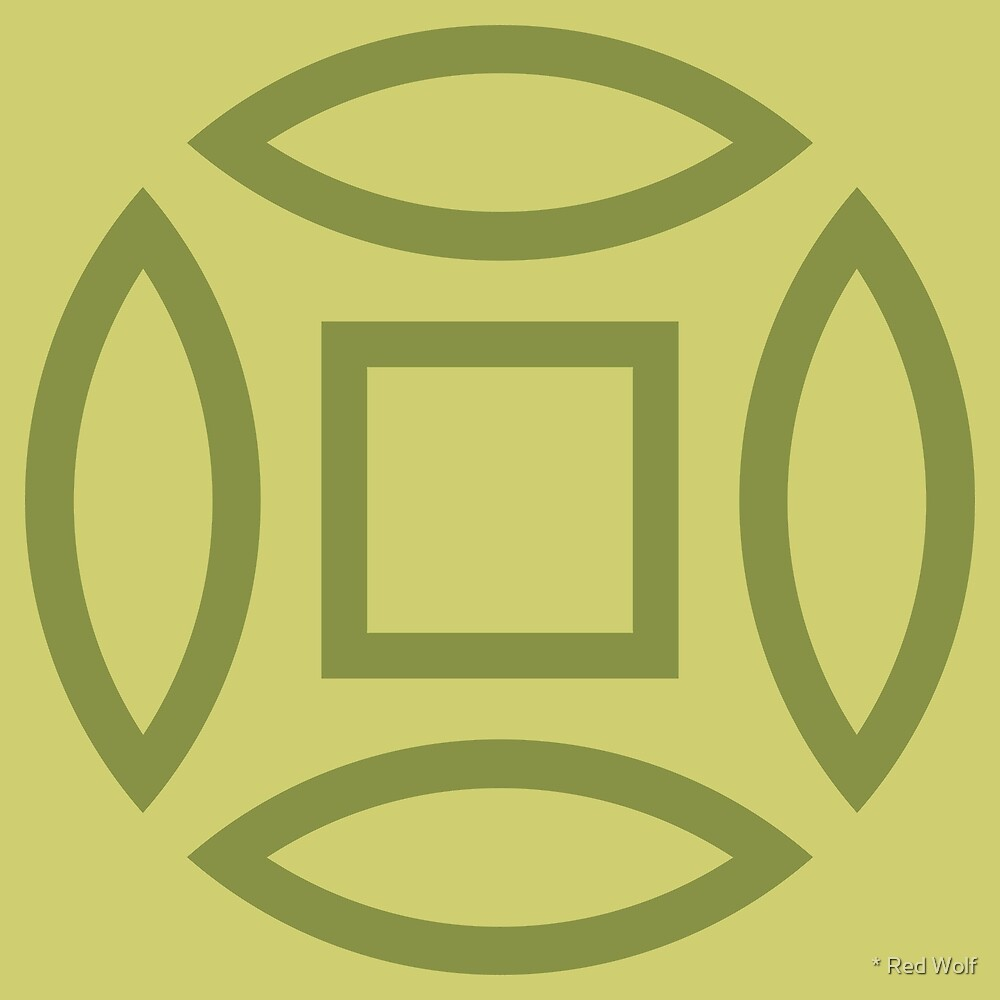Geometric Pattern: Intersect Outline: Olive by * Red Wolf