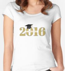 Gold Class of 2016 with Mortarboard Women's Fitted Scoop T-Shirt