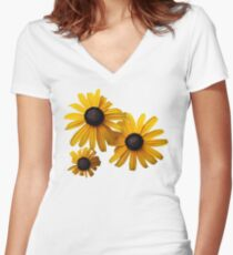 Three Blackeye Susans Women's Fitted V-Neck T-Shirt