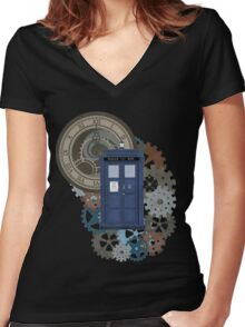 Traveling through the gears of Time  Women's Fitted V-Neck T-Shirt