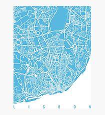 Lisbon map blue Photographic Print