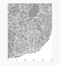 Lisbon map grey Photographic Print