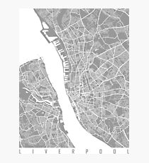 Liverpool map grey Photographic Print