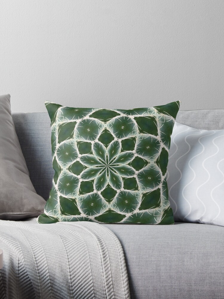 dark green cactus with white spikes throw pillows by marilynbaldey7 redbubble. Black Bedroom Furniture Sets. Home Design Ideas