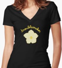 Troublemaker - Yellow Flower Women's Fitted V-Neck T-Shirt