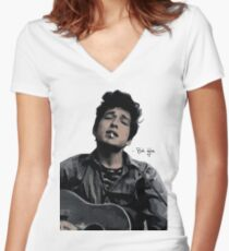 Bob Dylan Women's Fitted V-Neck T-Shirt