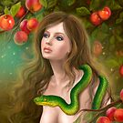 Apple temptation. Beautiful woman Eve and snake. Young woman and apple. Illustration. by Alena Lazareva