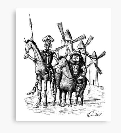 Don Quixote and Sancho Panza ink drawing Canvas Print
