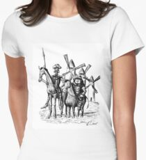 Don Quixote and Sancho Panza ink drawing Women's Fitted T-Shirt