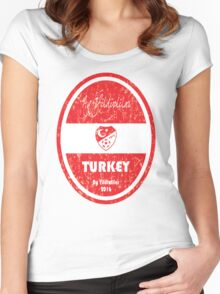 Euro 2016 Football - Turkey Women's Fitted Scoop T-Shirt