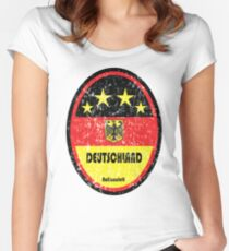 World Cup Football 3/8 - Deutschland (Distressed) Women's Fitted Scoop T-Shirt