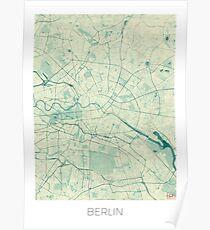 Berlin Map Blue Vintage Poster