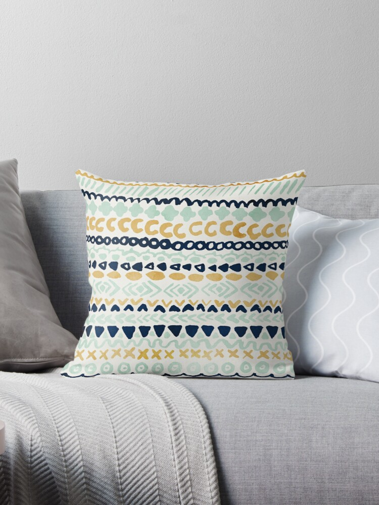Quot Navy Teal Amp Mustard Tribal Quot Throw Pillows By Tangerine