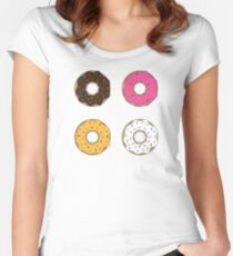 Tasty Donuts Pattern Fitted Scoop T-Shirt