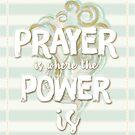 Pastell Stripy Blau und Creme Leistungsstarke Gebet Zitat von TheFinerThemes