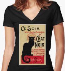 The black cat, le chat noir famous art nouveau ad  Fitted V-Neck T-Shirt