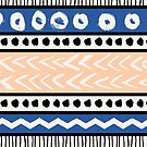 Blue, Pink and Black Ethnic Pattern by Iveta Angelova