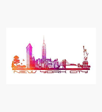 New York City skyline purple Photographic Print