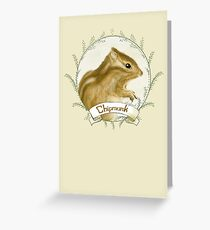 Adorable Whimsical Chipmunk Illustration - Card Greeting Card