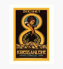 Austrian vintage litho bank loan advert, child, gold coins Art Print