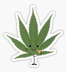 Weed Leaf Pizza Man Sticker