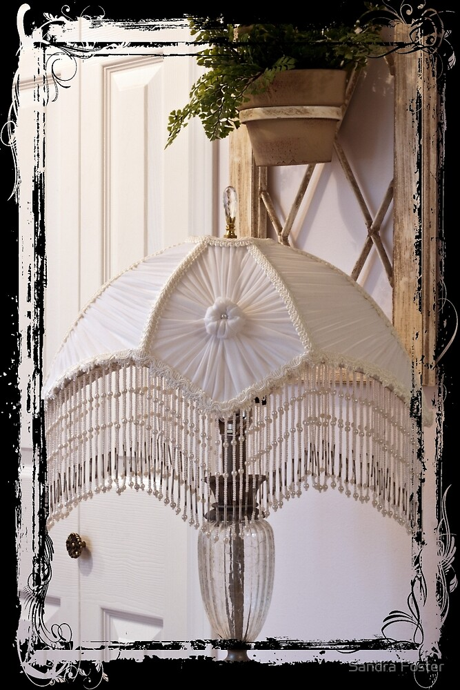 Bead Fringed Hand Stitched Lamp Shade by Sandra Foster
