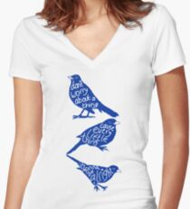 three lil birds. Women's Fitted V-Neck T-Shirt