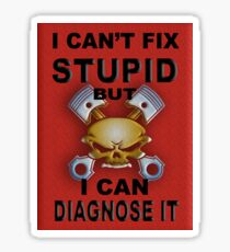 I Can't Fix Stupid BUT I Can Diagnose It RED V2 Sticker