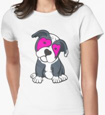 Love Hearts American Pit Bull Terrier Puppy  Womens Fitted T-Shirt