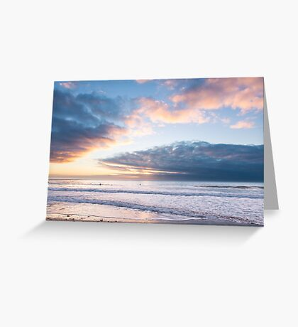 Last of the light at Watergate Bay, Cornwall, UK Greeting Card
